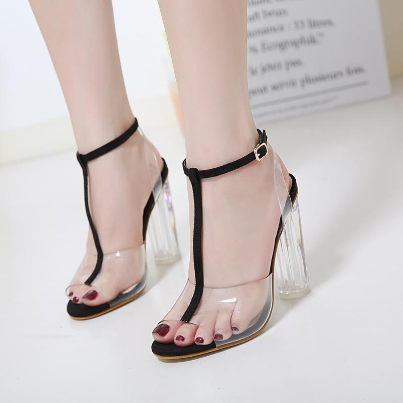 563bda8fe Lazada Women Sandals Foreign Trade Large Size High Heels Transparent Sandals  women 35-42
