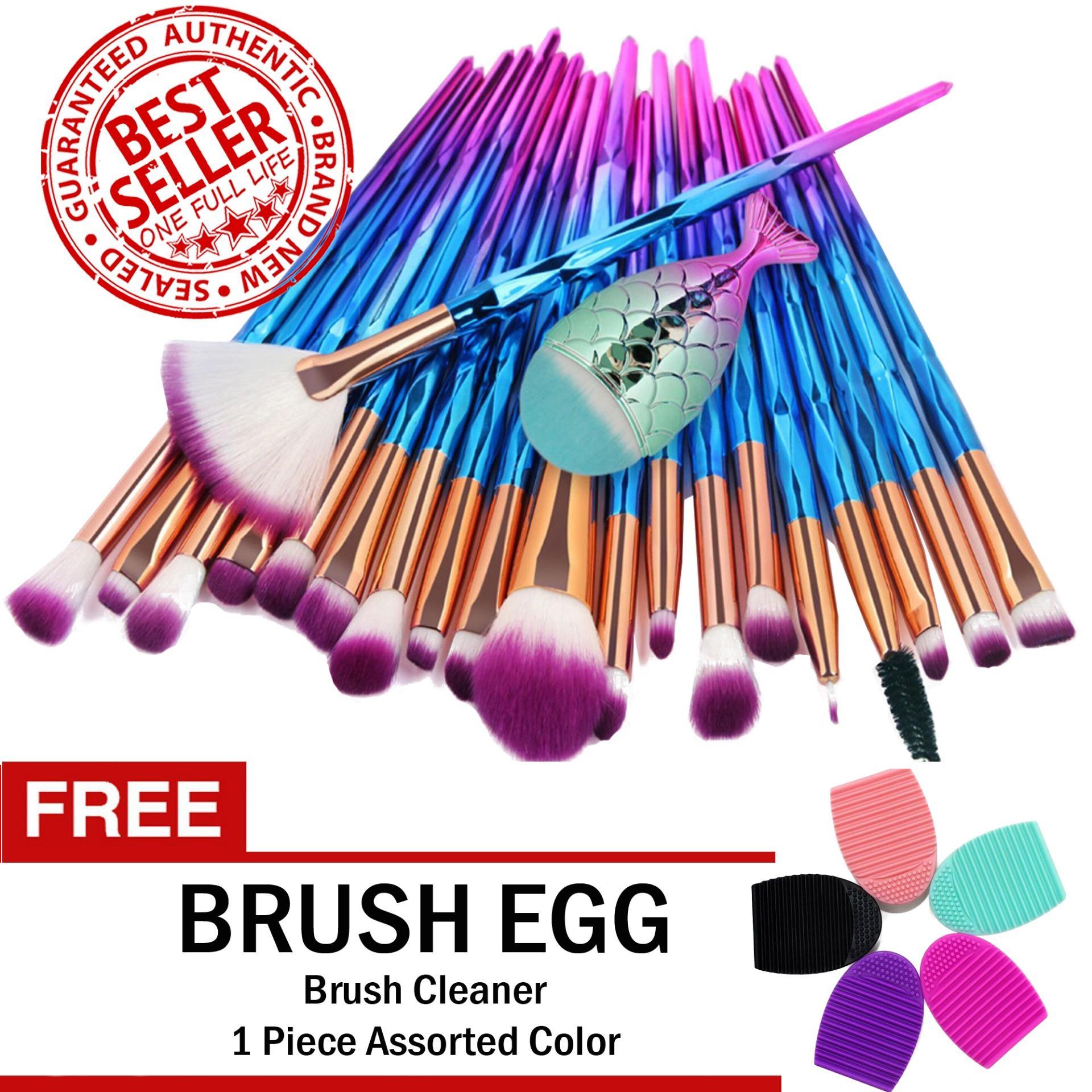 Unicorn Makeup Brush Set 21-Piece RAINBOW with FREE Brush Egg Brush Cleaner Philippines