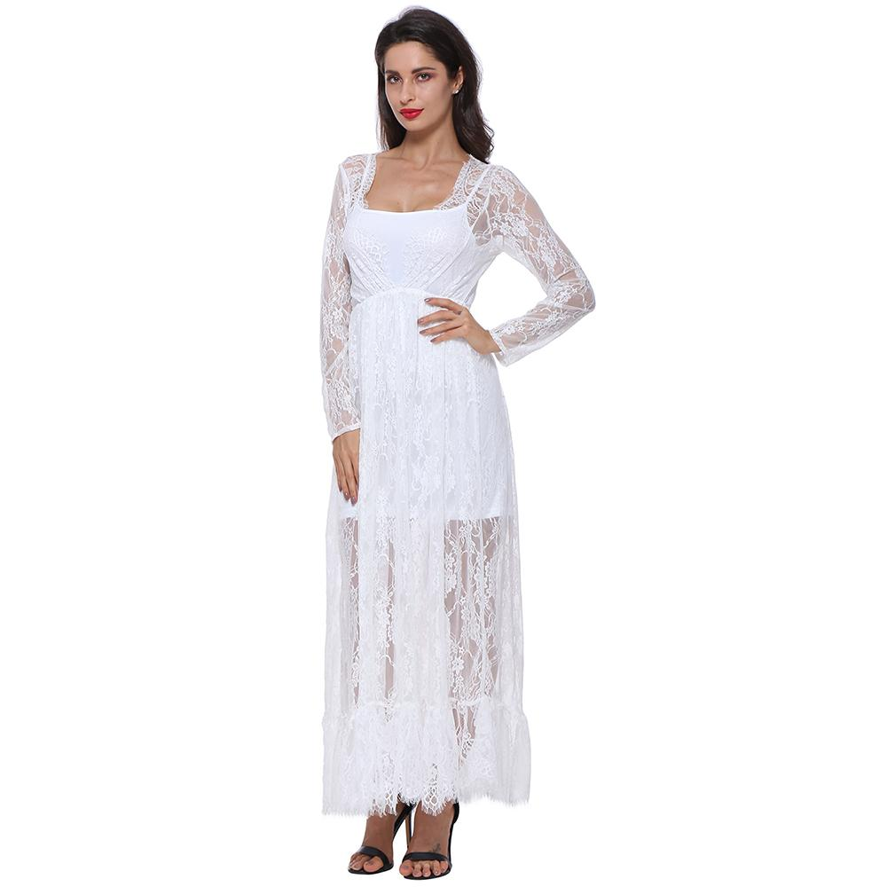 6ed198ec7c Gamiss Women s Sexy Deep V-Neck Long Sleeve Lace Beach Dress See-Through  Maxi