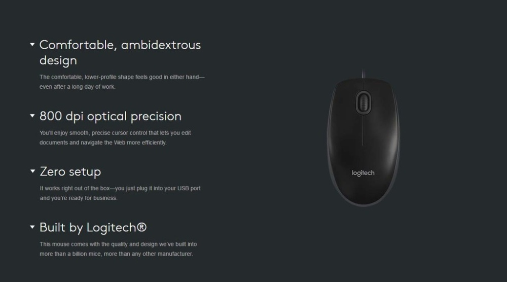 1215b721005 Specifications of Logitech B100 Optical Mouse (Black)