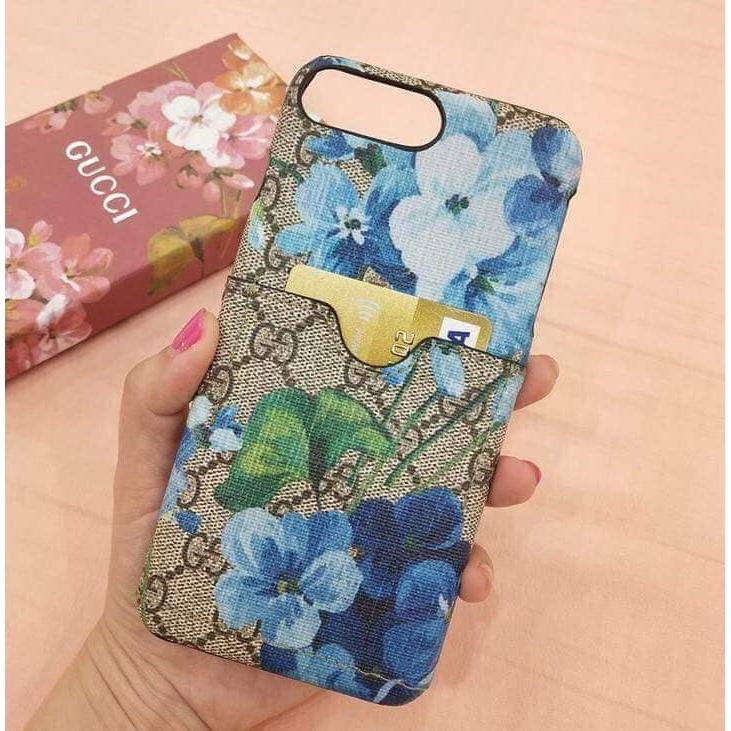 size 40 22bfb b7c79 Gucci Floral Case with Card Holder for Apple Iphone 7