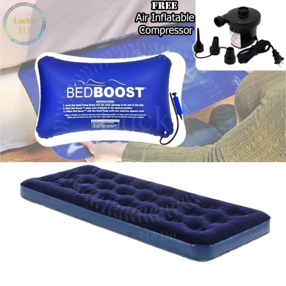 d5baafe45b42 Single Person Air Bed Plus Bed Supporter Inflatable Pillow And Electric  Compressor