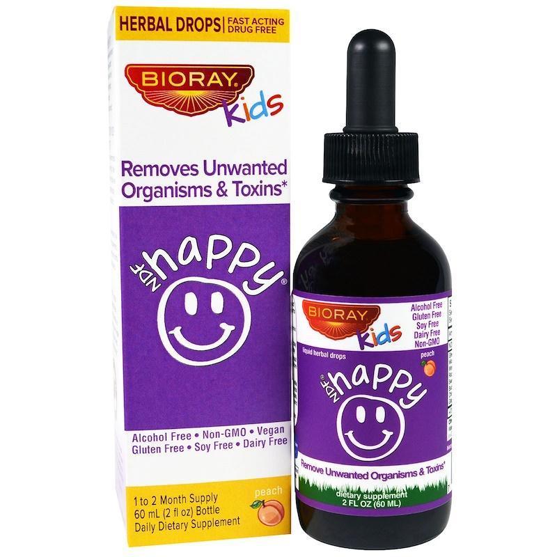 Bioray Inc., Ndf Happy, Removes Unwanted Organisms & Toxins, Kids, Peach Flavor, 2 Fl Oz. (60 Ml) By Rosychic Health And Beauty Products.