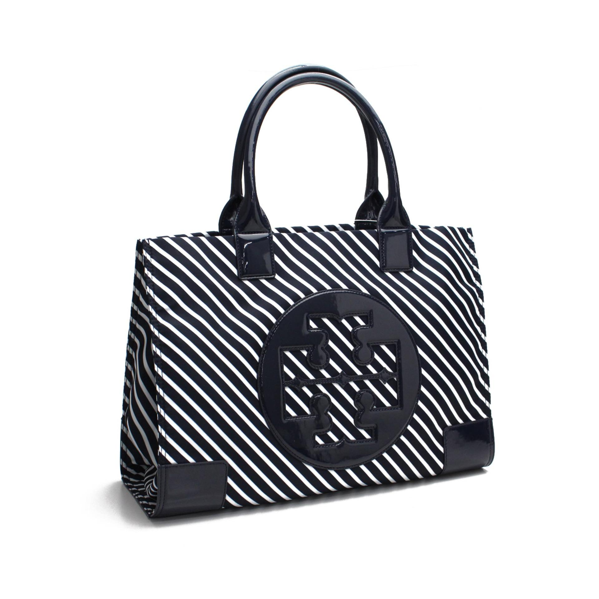 Tory Burch - Ella Tote Bag (White Stripes) (Authentic)