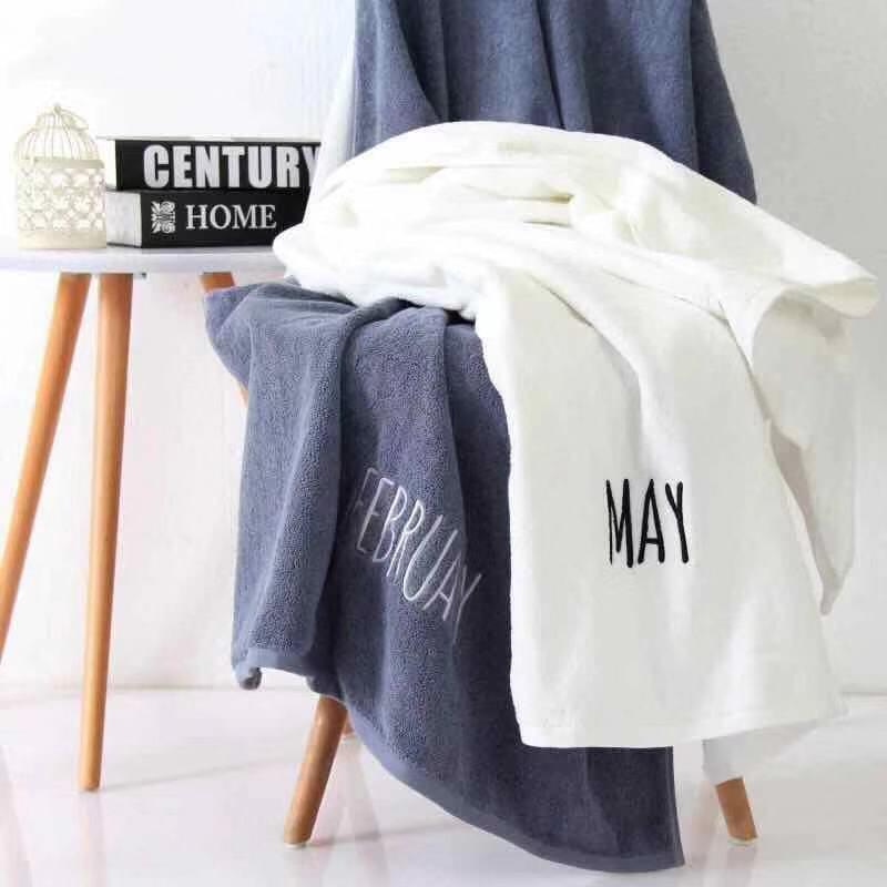 LUK Embroidered Month Name Cotton Absorbent Bath Towel 21ddb2b16