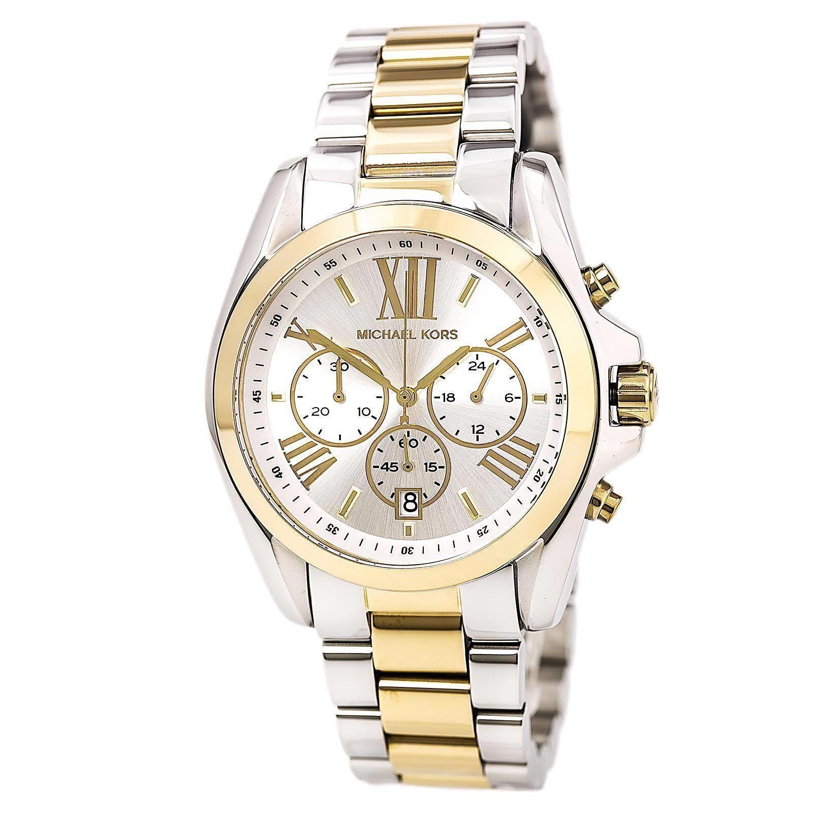 0608ef5d12237 MK Michael Kors Oversized Bradshaw MK5627 Two-Tone (White Gold) Stainless  Steel