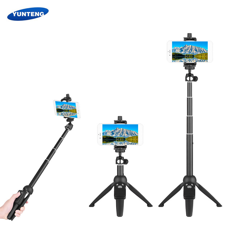YUNTENG (YT-9928) Bluetooth remote for all Android & IOS Apple iPhone  2-in-1 Mini Desktop Tripod Selfie Stick with Phone Holder Remote Controller  Max