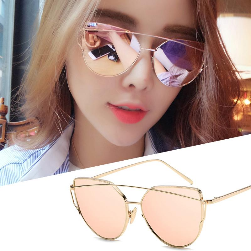 Fashion Cat Eye Sun Glasses Men and Women Retro Style Sunglasses- Gold Frame Rose Gold