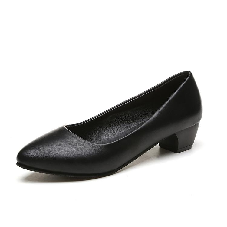 6efa1c64c69 3cm Small Low Heel Chunky Heel Black SINGLE-LAYERED Shoes Leather Shoes  Professional Semi-