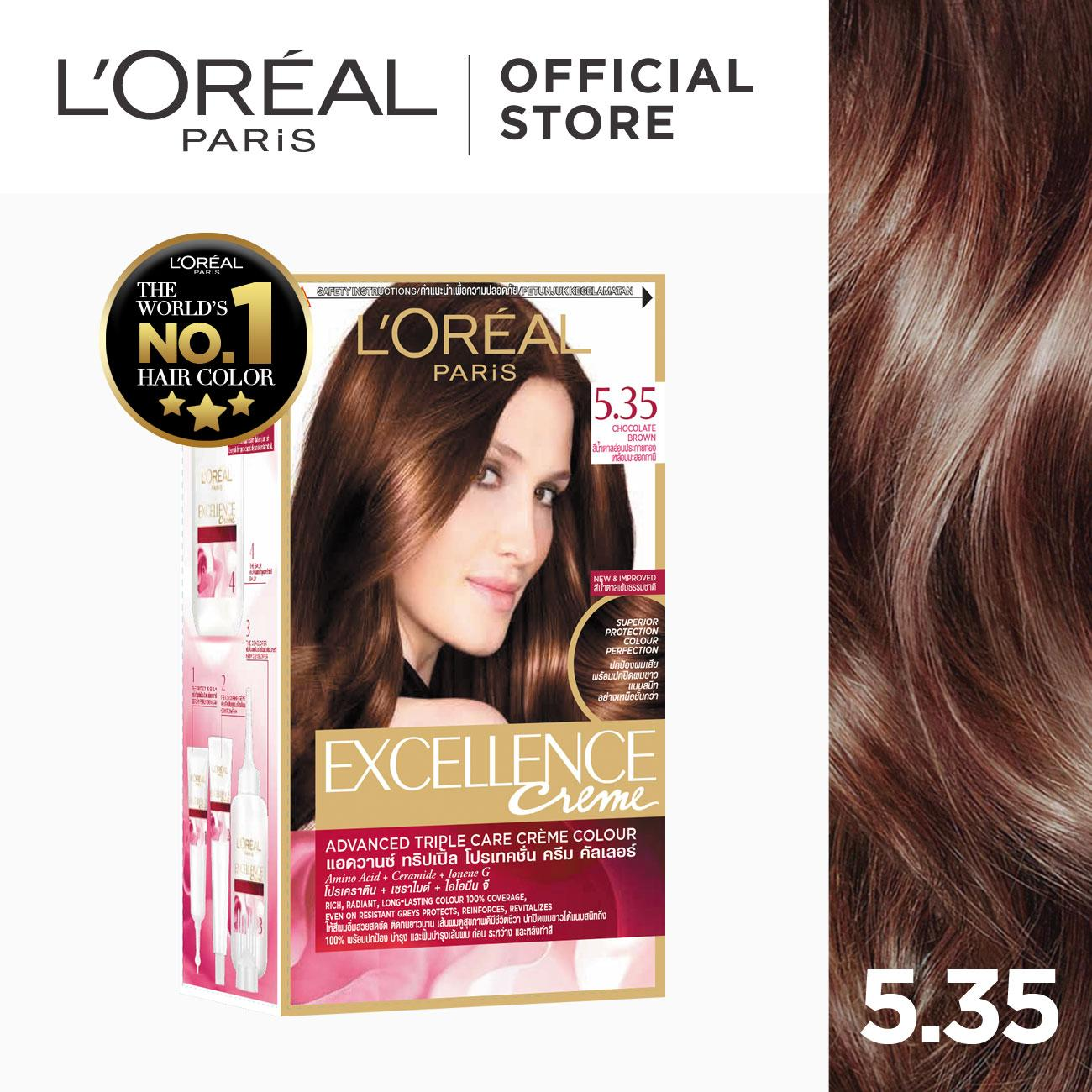 Excellence Crème Hair Color - 5.35 Chocolate Brown [worlds No.1] By Loréal Paris [w/ Protective Serum & Conditioner] By Loreal.