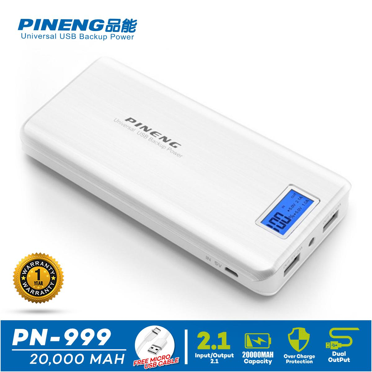 Pineng PN 999 20000mAh Dual Output W Safe Charging Module Led Flashlight Power