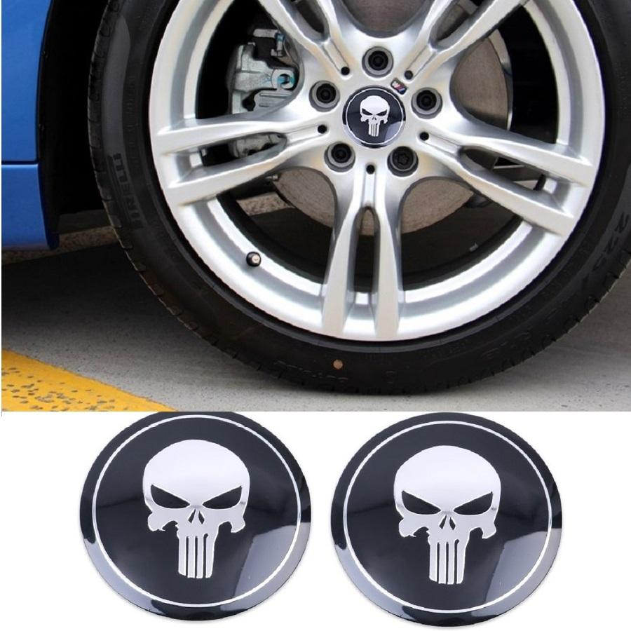 2 Pcs Set Sticker Punisher Diameter 5.6cm Wheel Center Hub Cap Sticker (black) By 101 Bamboo Art Products.