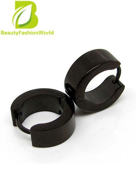 Punk Boys Mens Stainless Steel Hoop Gothic Earrings Cool Jewelry Black Intl
