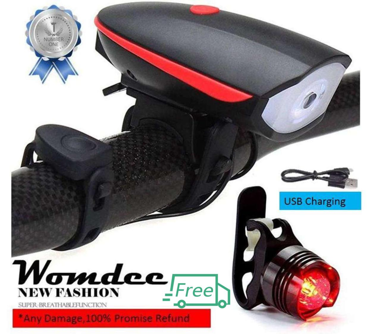 Womdee Headlight With Horn 120 Db And Tail Light for Cycling lover , Ultra Brightness And