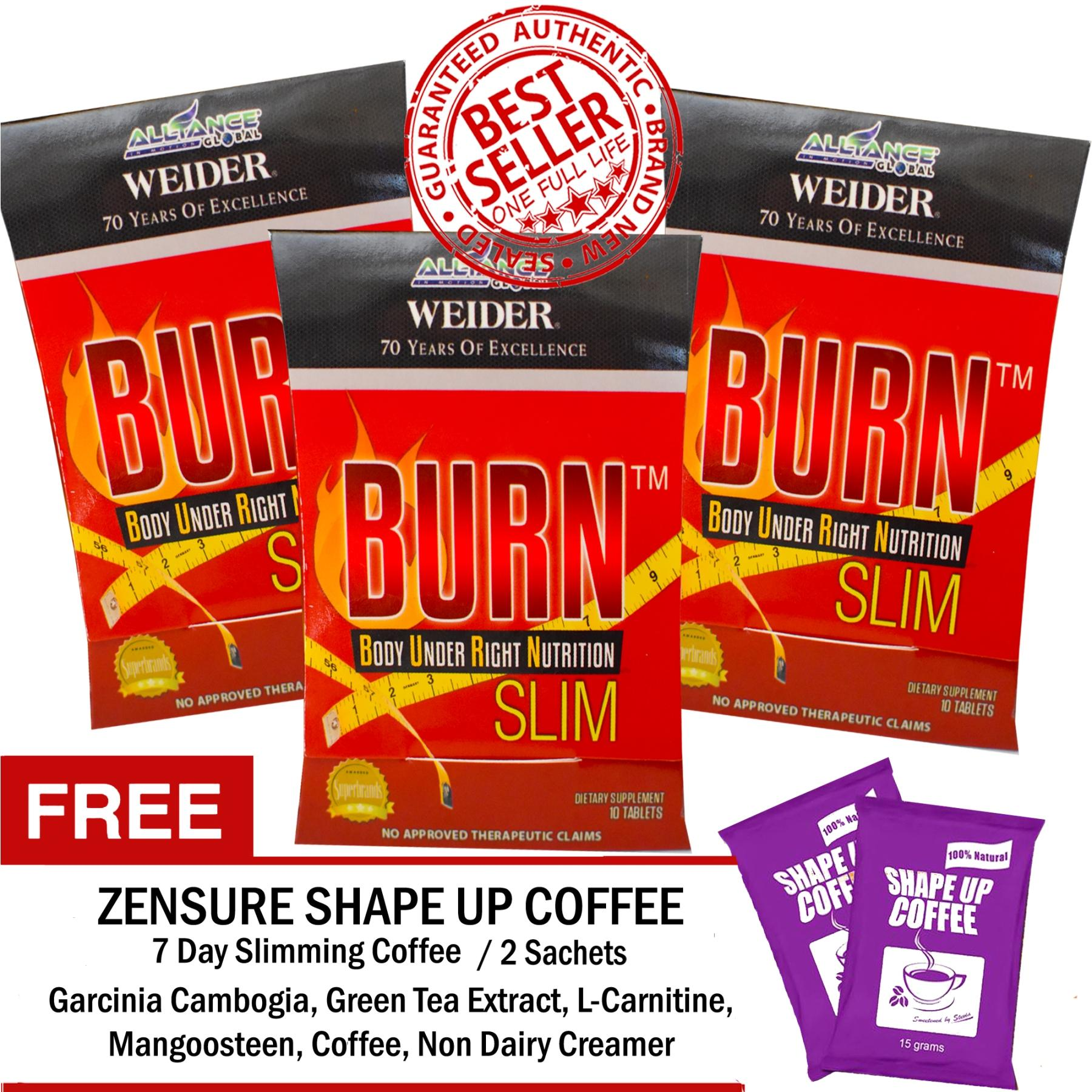 Aim Global Burn Slim 30 Tablets With Free 2 Sachets Zensure Shape Up 7 Days Slimming