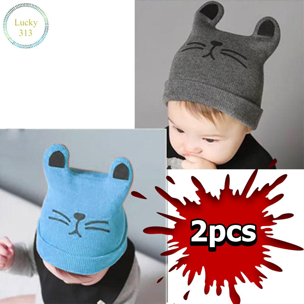 A Baby Infant Head Cap COTTON HAT Warm Hat Cat 2pcs (Light Blue, Gray