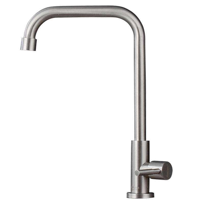Single Cold 304 Stainless Steel Kitchen Faucet Household 4 Points Rotating  Washing Basin Sink Anti-spill Leading