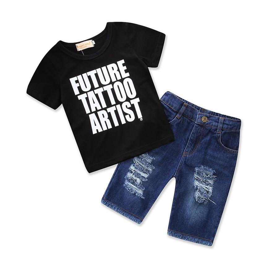 05e0f01c daily Baby Boy Clothes Set Summer Black letter T-shirt Tops Shorts Broken  Hole Denim