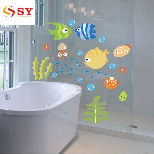 So Young Lovely Tropical Animal Fish Coral Wall Stickers Sea Bathroom Decor Wall Decal - intl