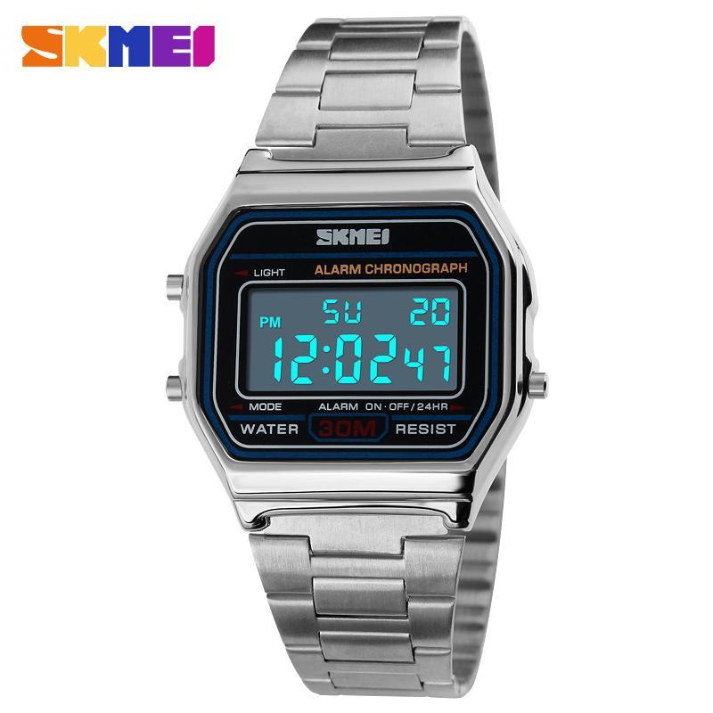 7f1a9a761 SKMEI LED Digital Sports High-grade Stainless Steel Waterproof Watch 1123