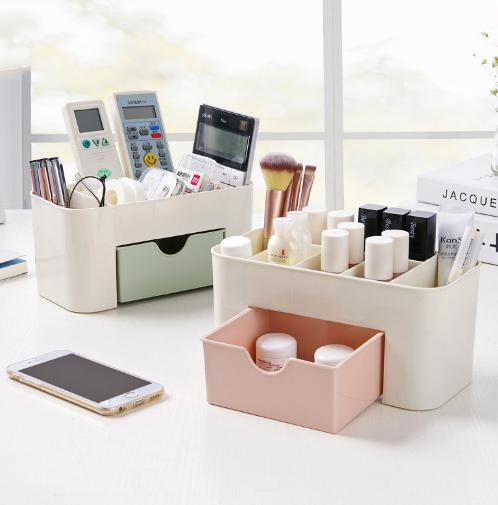 Cosmetic Storage Box Make up Organizer Table Organizer Multi-functional Jewelry Box Plastic Cosmetic Storage Box Desk Sundries Storage Container Makeup Organizer With Small Drawer Philippines
