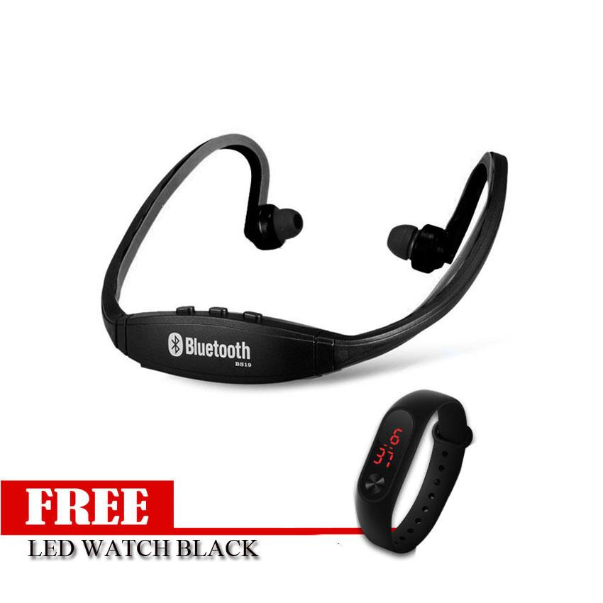 S9 Sports Wireless Bluetooth Stereo Earphone With Free Led Bracelet Watch (Black)