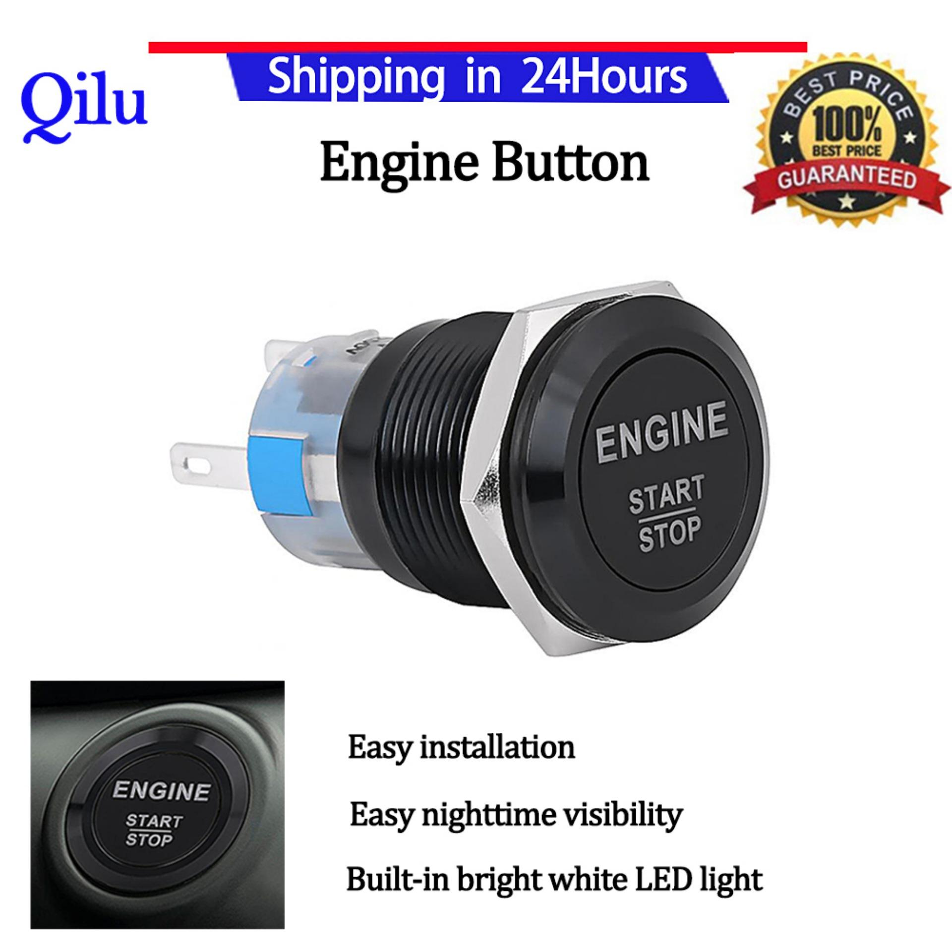 Alarm System For Sale Car Accessories Online Brands Two Way Lighting Diagram Engine Start Switch 12v White Led Stop Push Button Black Zinc