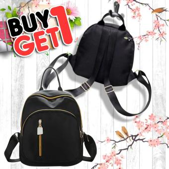 UISN MALL Korean Black Backpack Waterproof Bag #705 buy 1 take 1