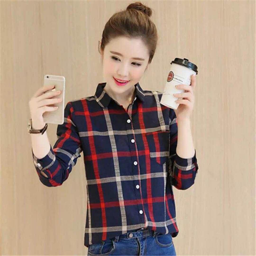 c28353e50901 KOREAN FASHION  737 LADIES LONG SLEEVE CHECKER BLOUSE For Women For idp shop