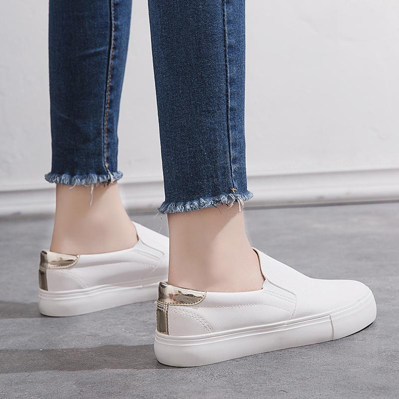 6081fb7253cdf2 QQS 2018 new white shoes casual lazy shoes a pedal student female Korean  fashion wild street
