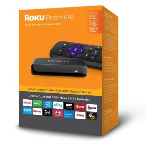 Roku Premiere | 4K/HDR/HD Streaming Player with IR Remote and Premium HDMI
