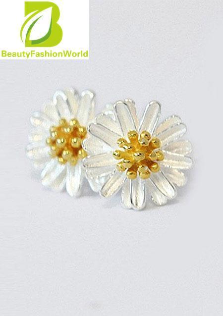 Hot Women 925 Sterling Silver Daisy Flower Earring Ear Stud Silver Color