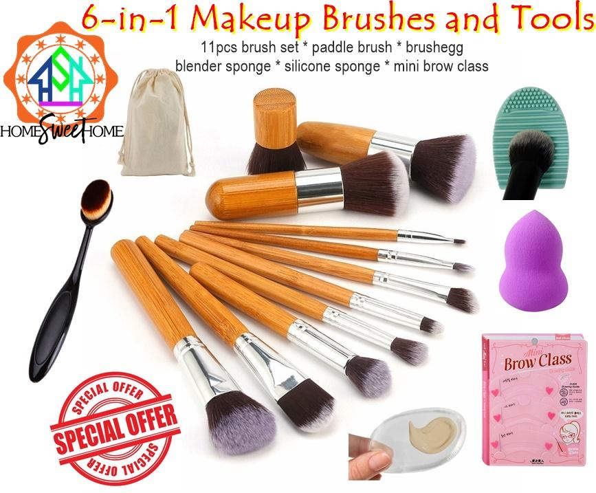 6-in-1 Make up Tools - Bamboo Wooden Brush Set - Blender Sponge - Silicone Sponge - Mini Brow Class - Anastasia Paddle Brush - Brushegg Cleaner Makeup Tools Philippines