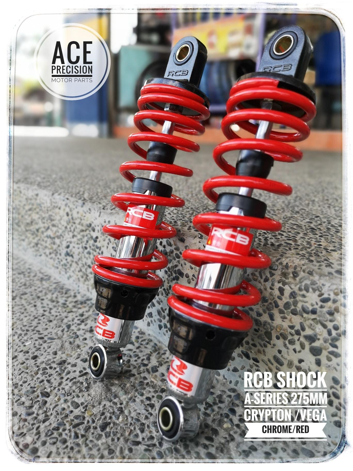 Racing boy dual shock absorber a series 275mm chrome red