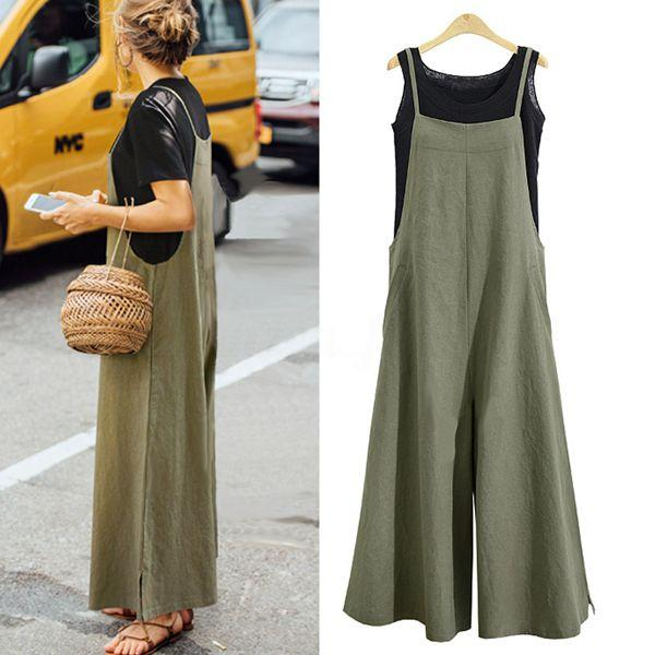 1329f6ca694 Women Casual Solid Spaghetti Straps Wide Leg Pants Pockets Loose Bib Cotton  Linen Jumpsuits