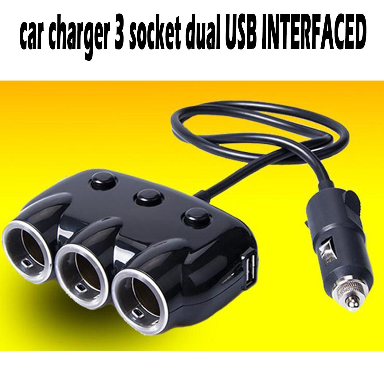 3 Socket Way Cigarette Lighter Power Adapter Splitter Universal Charging Auto Car Styling 2 Dual Usb Ports Car Charger Dc 12 24v By Elena Accessories.