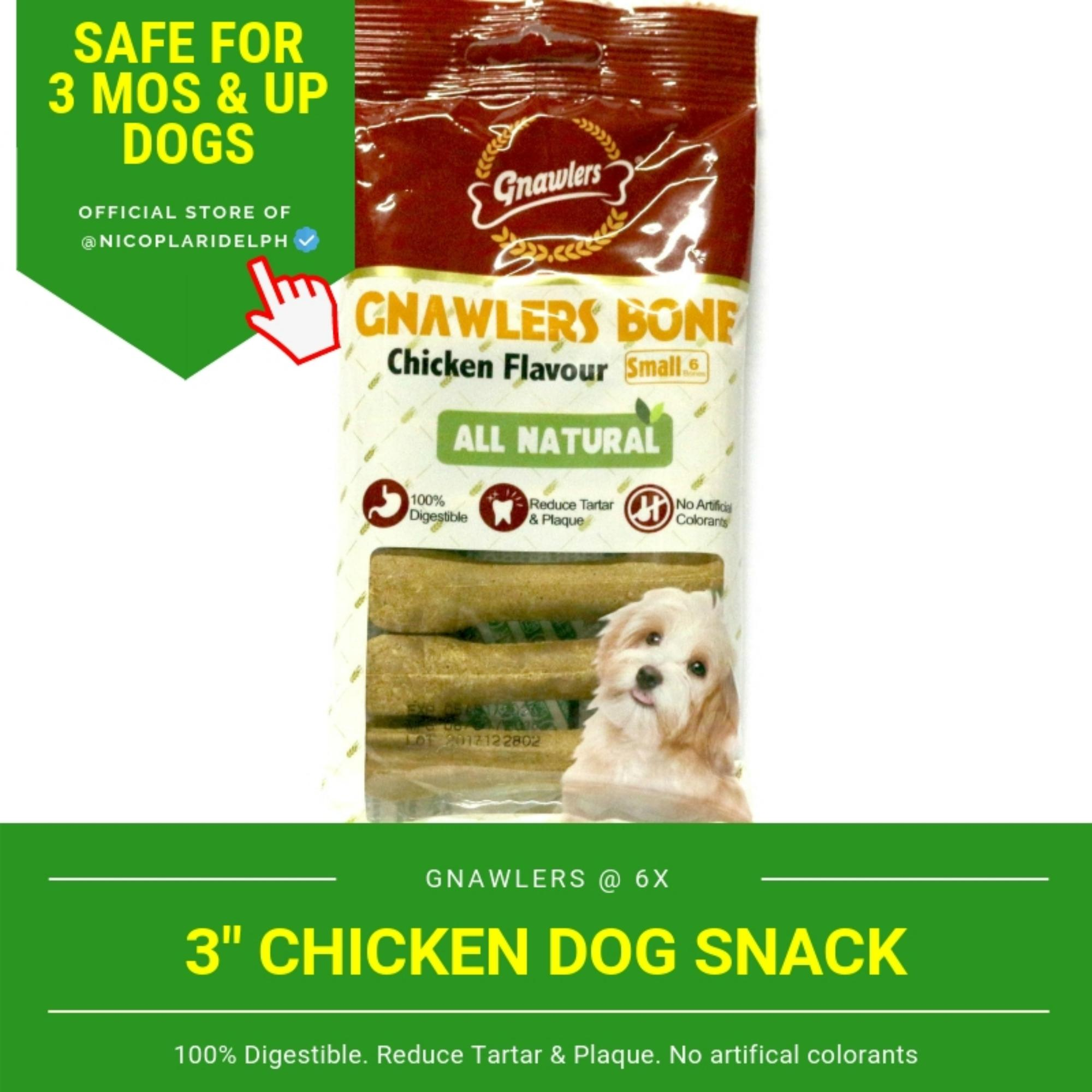 Gnawlers 3-Inch Chicken Dog Snack (108g) By Nicoplaridelph.