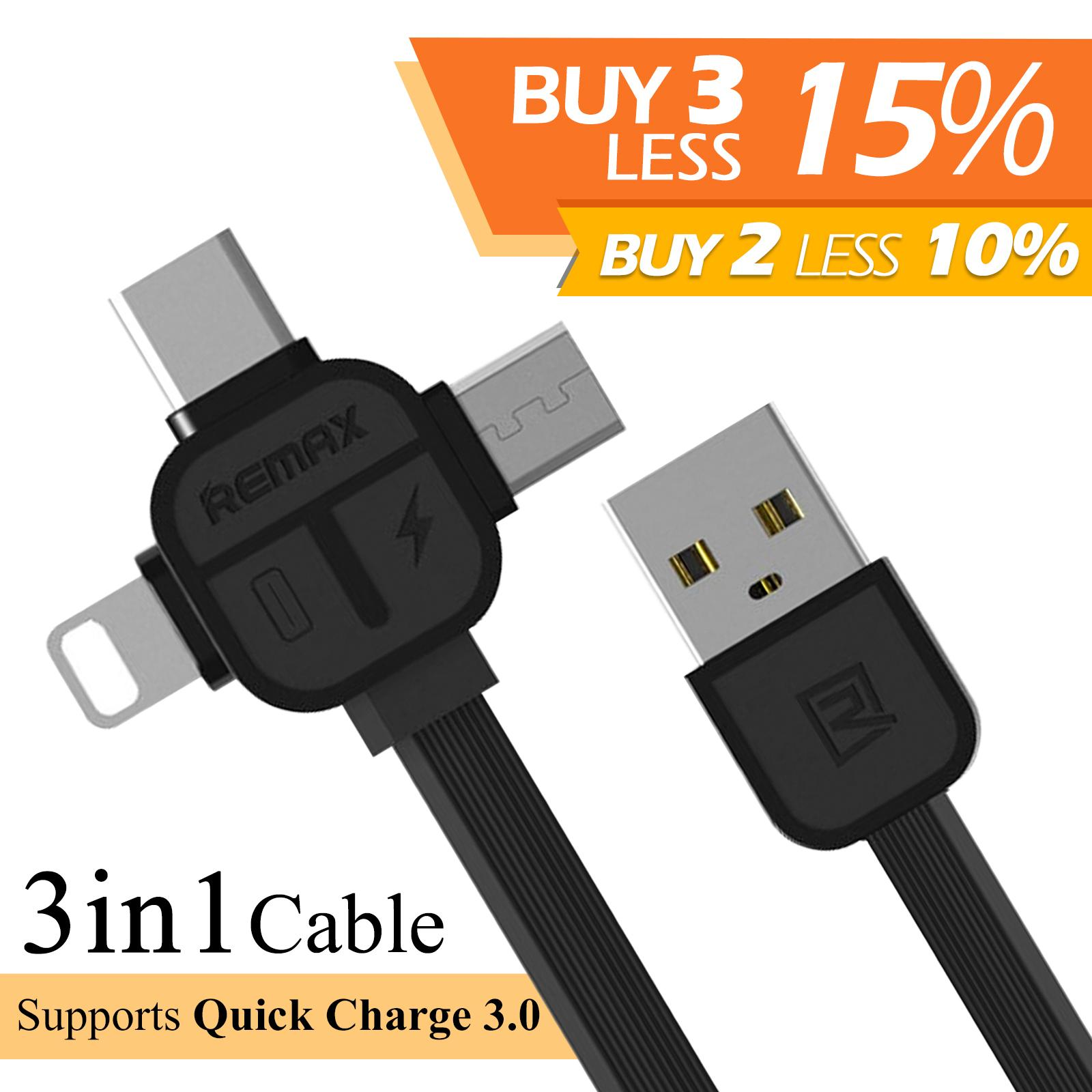 REMAX Lesu Series 3 in 1 USB 2.1A Cable with Micro USB + Type-
