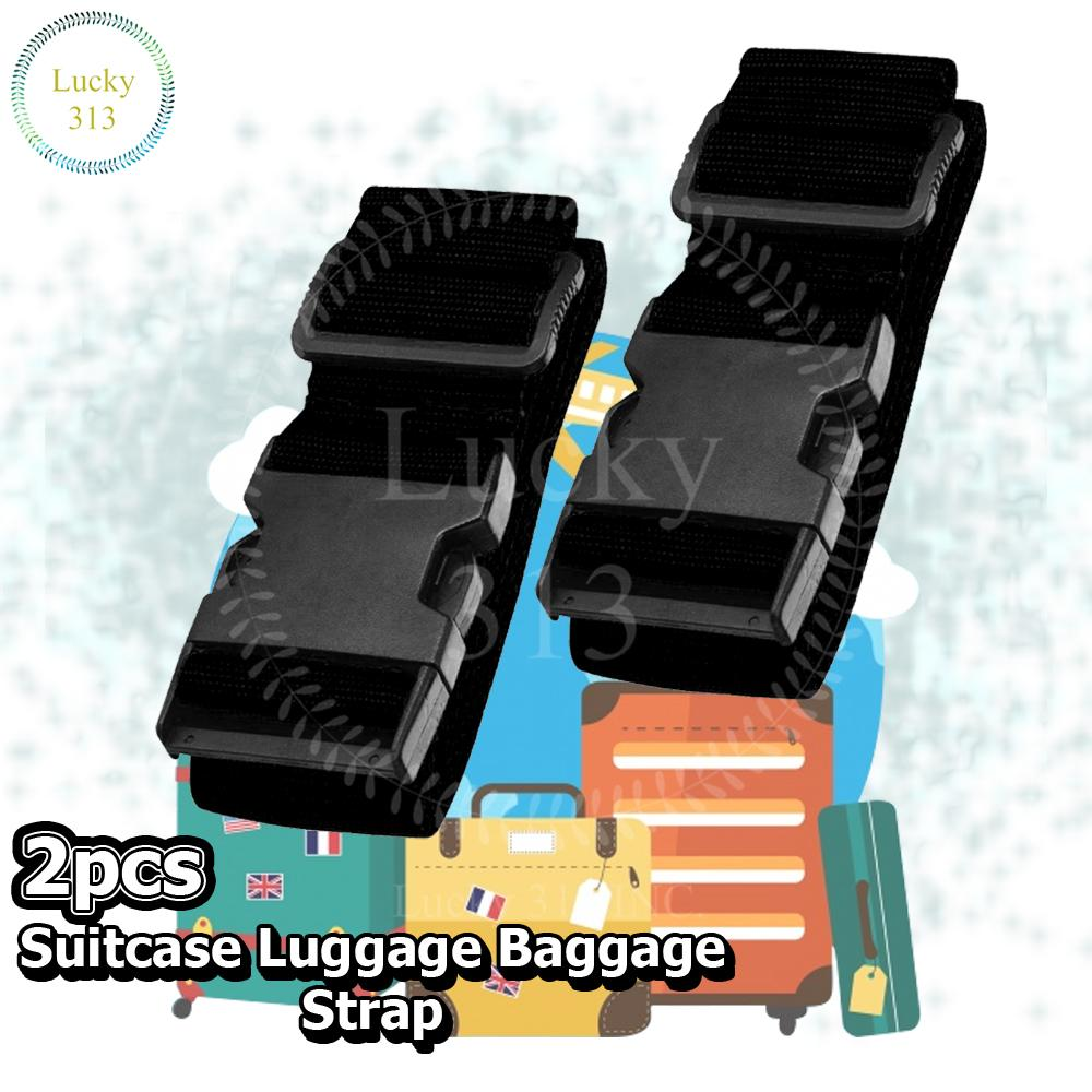 Suitcase Luggage Baggage Strap Black 2pcs By Lucky313.