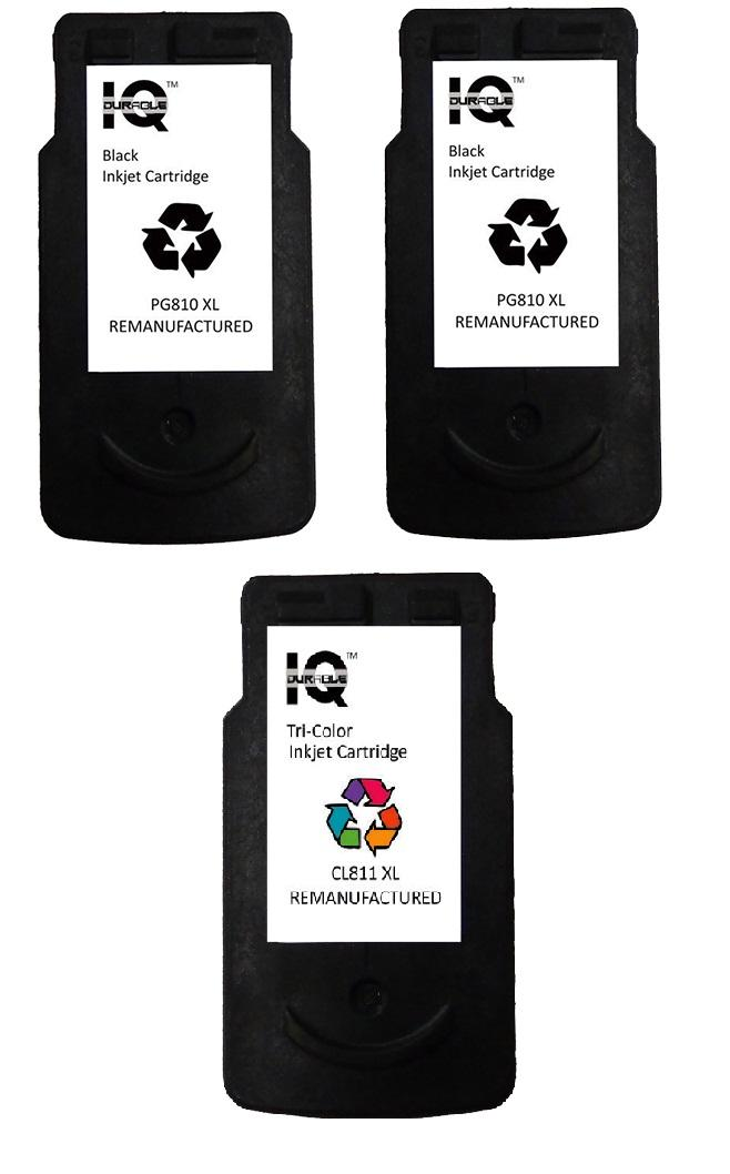 Remanufactured Canon Pg-810 Xl (black) Set Of 2 With Canon Cl-811 Xl (tri-Color) Ink Cartridge By Iq Durable.