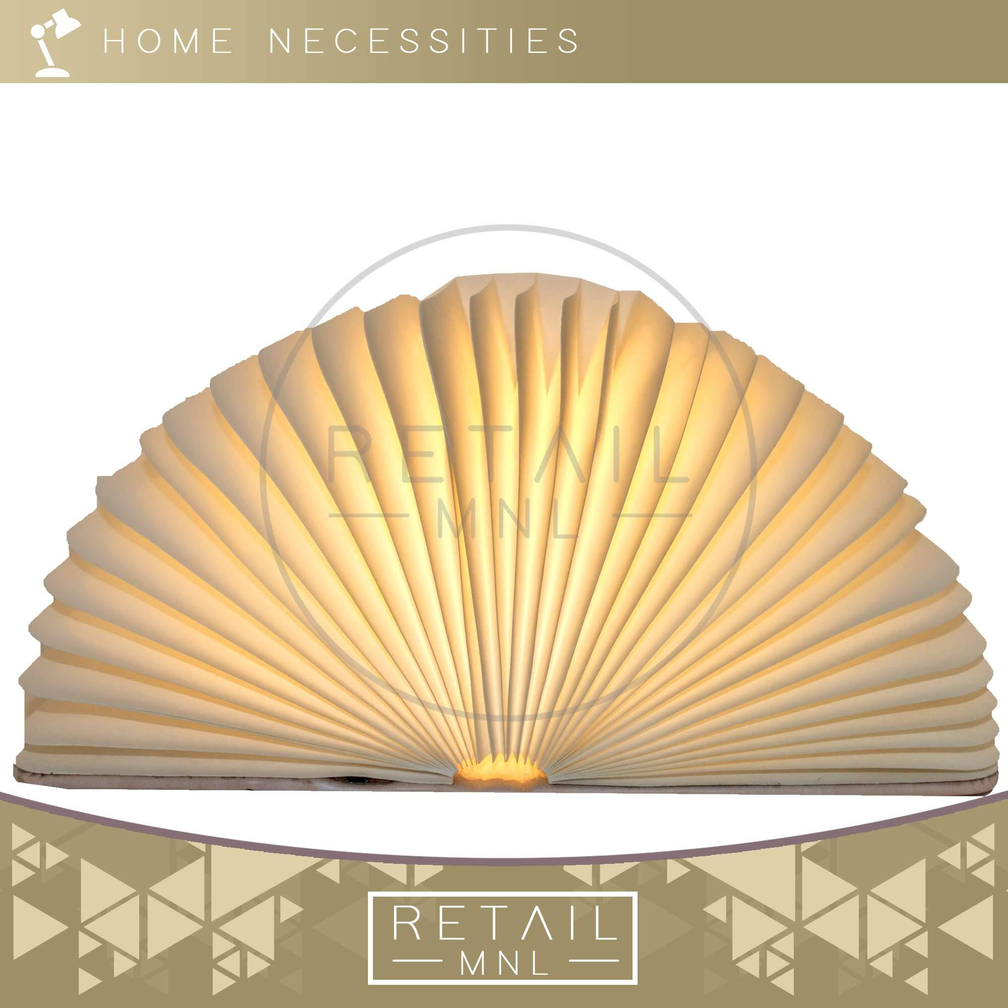 Retailmnl Wooden Grain Folding Book Lamp Magnetic Led Portable Usb Rechargeable Luminous- White By Retail Mnl.