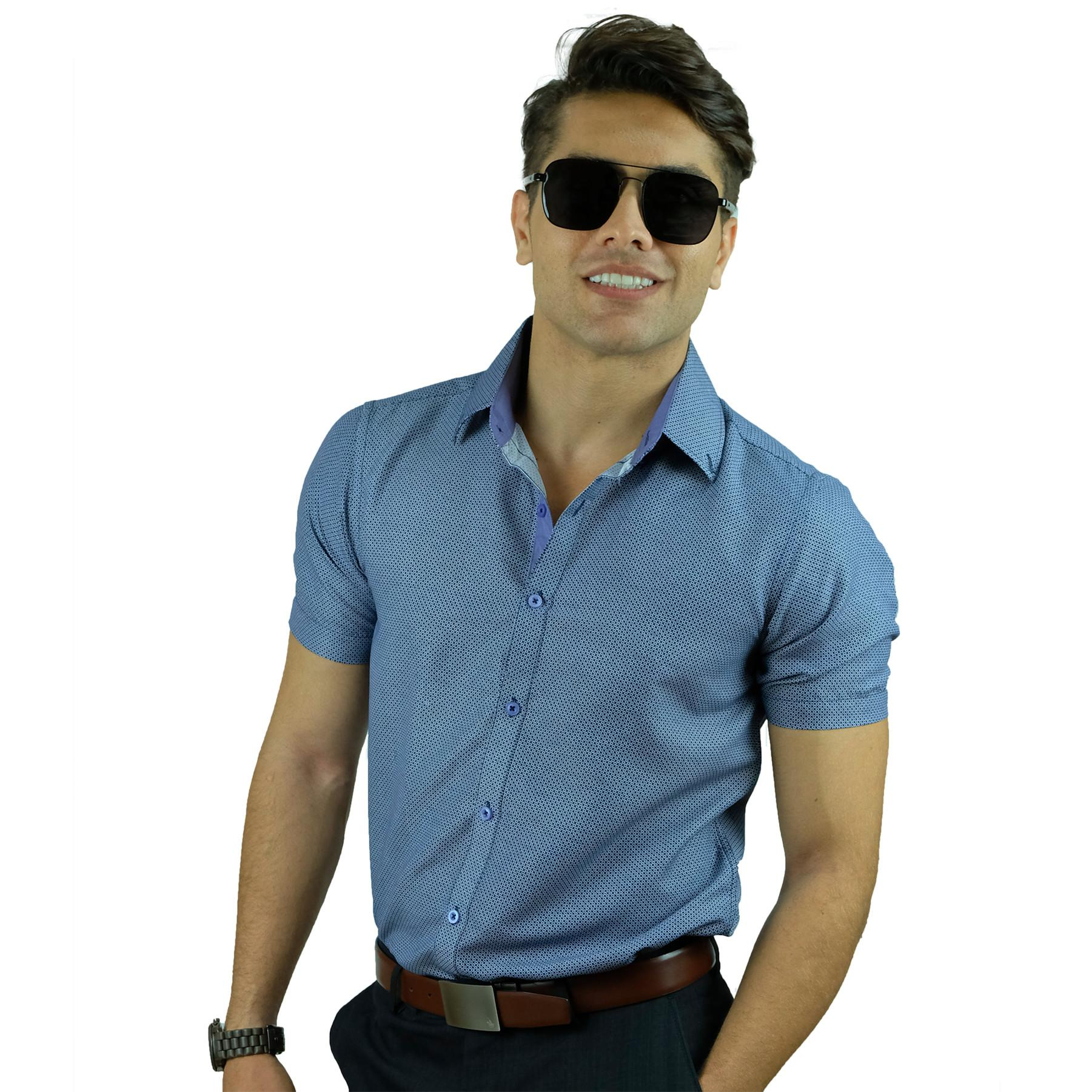 4da165f6b5c PROFILE by IDENTITY Mens Printed Button Down Smart Casual Short Sleeve Shirt  - K1100-02