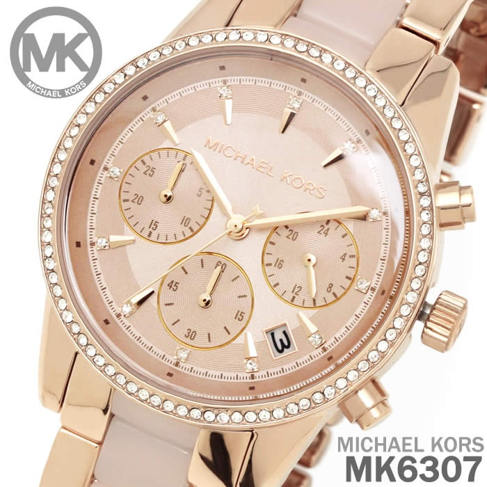 0c0e9f4019a2 The Michael Kors Ritz watch uses subtle pavé crystal detailing and polished rose  gold-tone and blush acetate center links for a truly glamorous look.