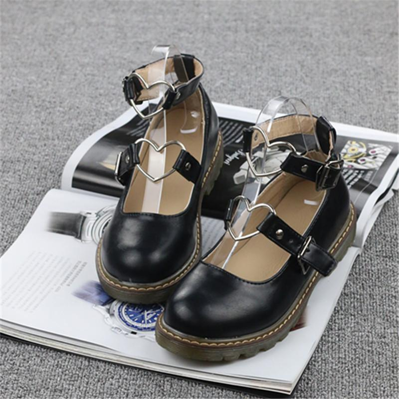 3776324af2f4 women Shoes Shallow Mouth round Head Students Small Leather Shoes Harajuku  Wind Lolita Shoe Flat Closure