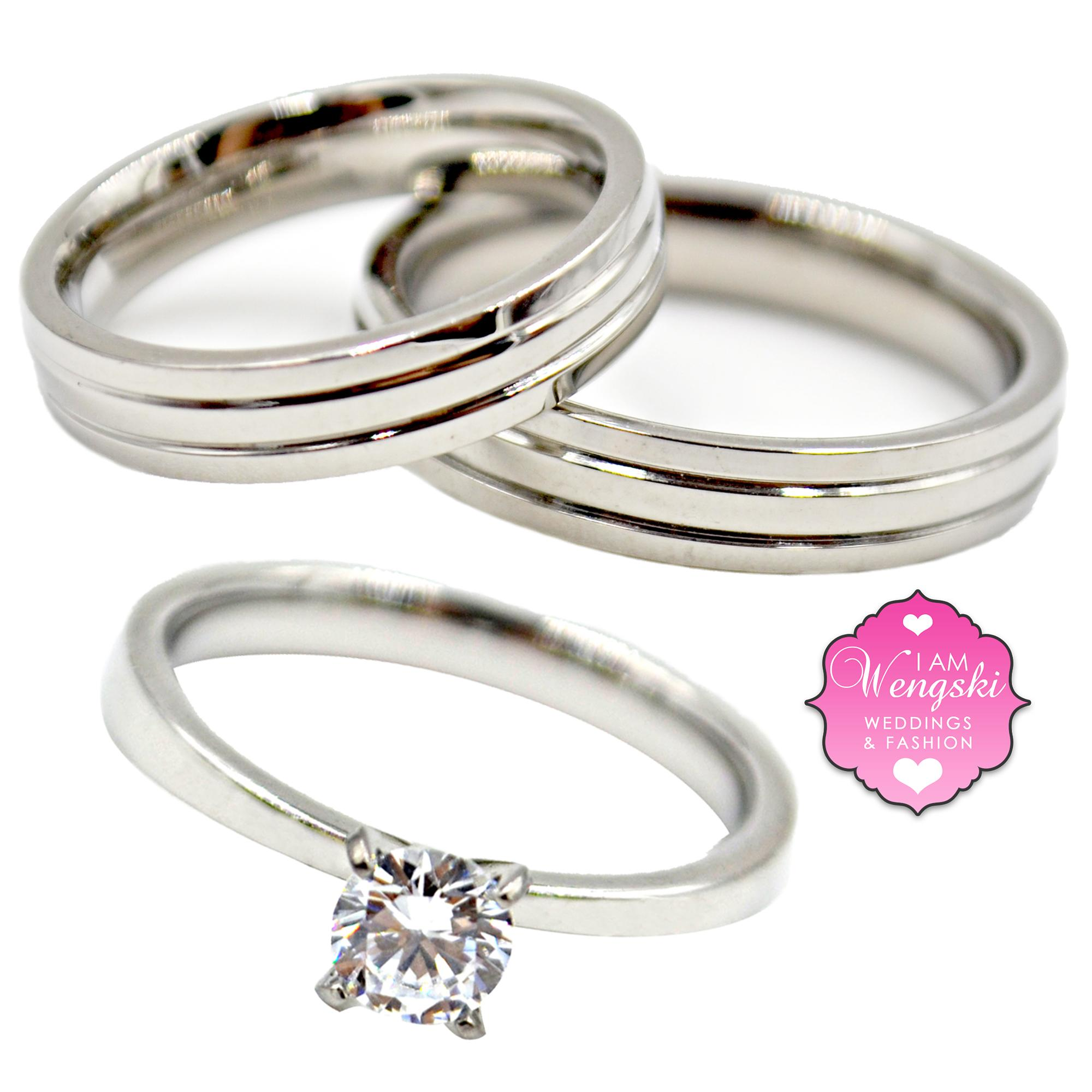 I Am Wengski Grego With Tiffany 3 Piece Wedding Engagement Ring Set (Silver)