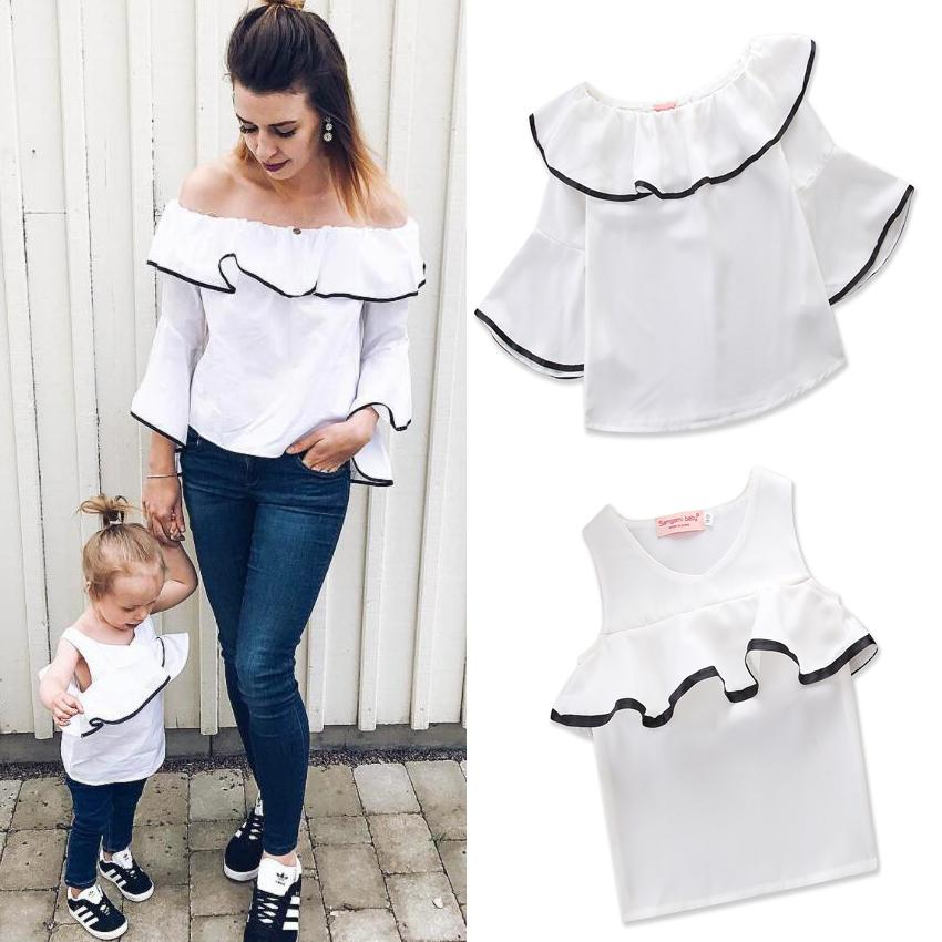 c69f14c5d9 2018 Summer Autumn Family Matching Outfits Long Sleeve T-shirt Mother and  Daughter Vest Clothes