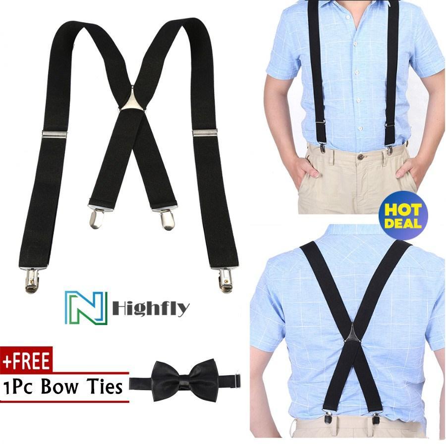d153fcb9a360 【FREE Gift】Elastic Suspender 3.5cm Width Men X-Shape Braces Adjustable 4