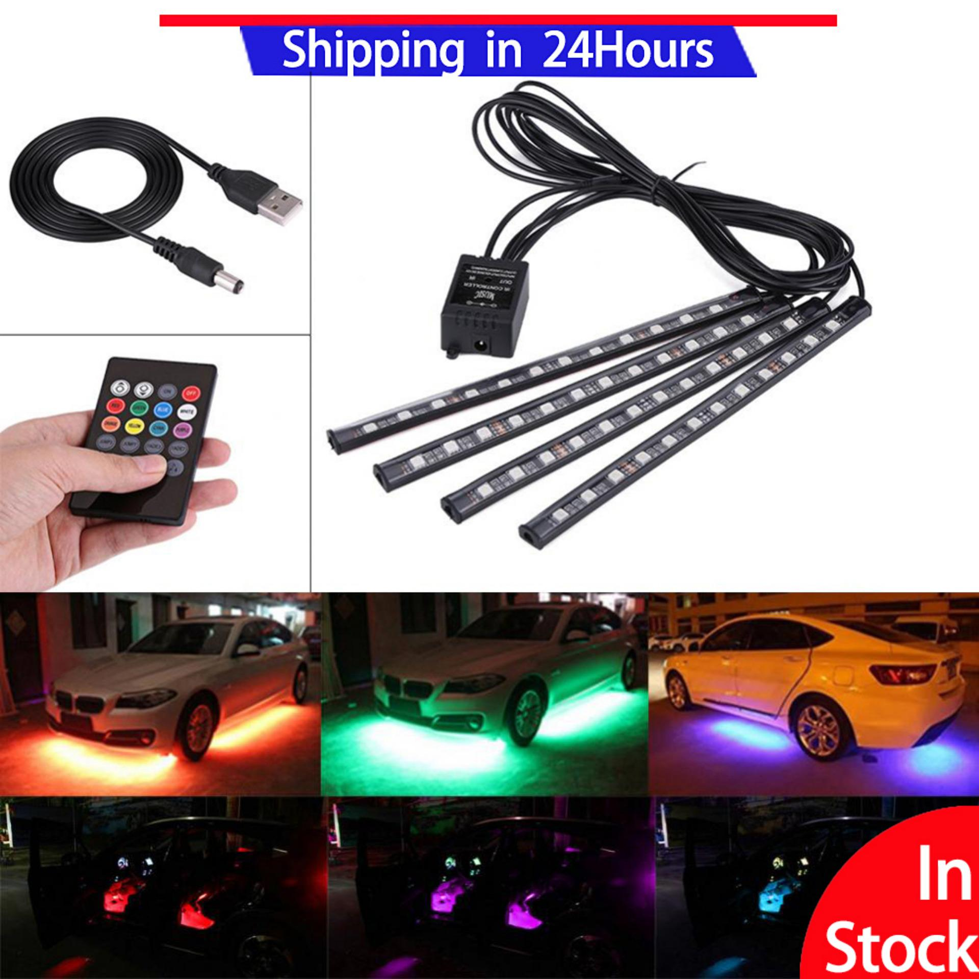 【Promotions】5V 4x 12SMD Car Interior RGB LED Strip Lights Foot Atmosphere Light Remote