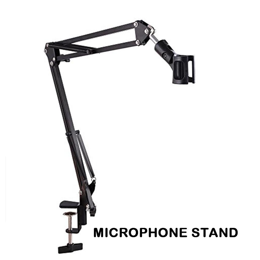 Metal Adjustable Mic Desk Stand Live Radio Recording Microphone Phone Foldable Stand Holder Metal Material By Elena Accessories.