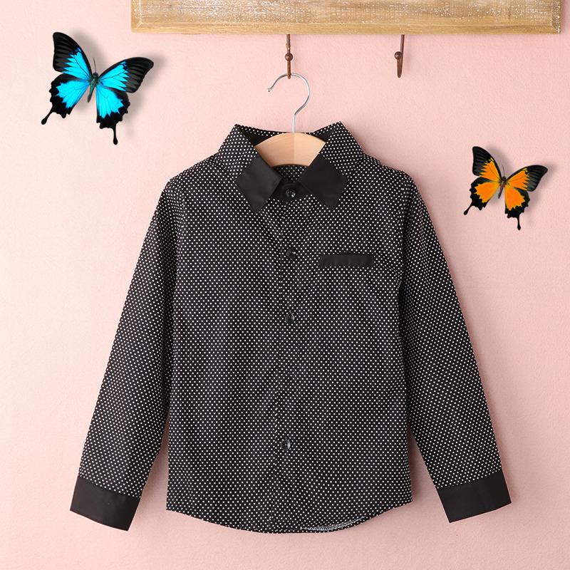 be5984b609381 Kids Boys Formal Shirt Plain Casual Long Sleeved Lapel Party Cotton Shirt